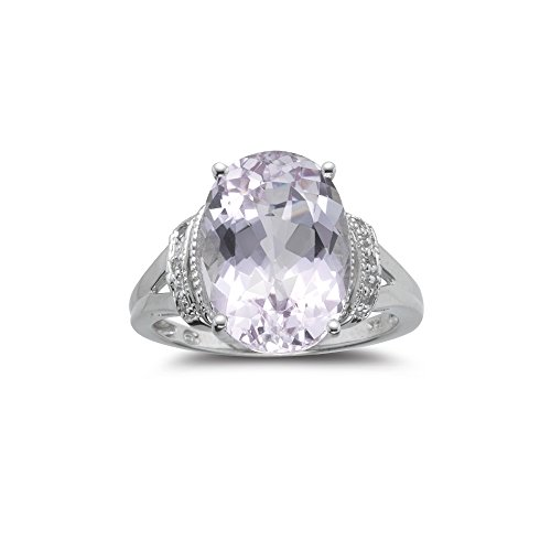 0.03 Cts Diamond & 7.00 Cts Kunzite Ring in 14K White (Cts Kunzite Ring)