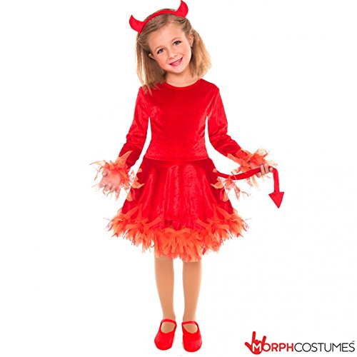 [Girls Red Devil Costume Small Age 10 - 12 Years] (Devil Costume For Girls)