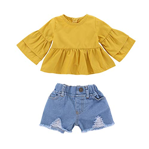 (Infant Girl Clothes Baby Girl Summer Ruffle Outfits Yellow Ruffle Sleeve T-Shirt Tops+ Denim Pants Ripped Jeans Outfit Set for Spring 1-2T)