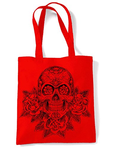 Tattoo Tote Large Red Shoulder Roses Print and Bag Shopping Skull xwUqBB