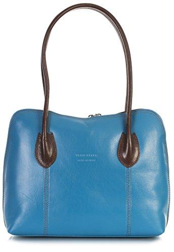 Leather Top Handbag Womens LIATALIA Shoulder Handle Medium Trim Blue CHELSEA Brown Italian Ladies Z Genuine Satchel n4IqvqUX