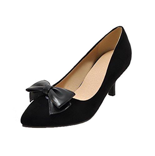 Puntera Tacón Cerrada Mujeres Slip De Medio Pu Aalardom on Negro Zapatos 5RpFnO