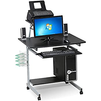 Amazon Com Yaheetech Black Computer Cart Desk Mobile
