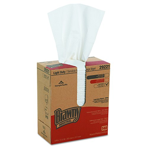 """Brawny Industrial 29221 White Light Duty 2-Ply Paper Wiper, 12.5"""" Length x 8"""" Width (Case of 20 Boxes, 148 Wipers per Box) from Georgia-Pacific"""