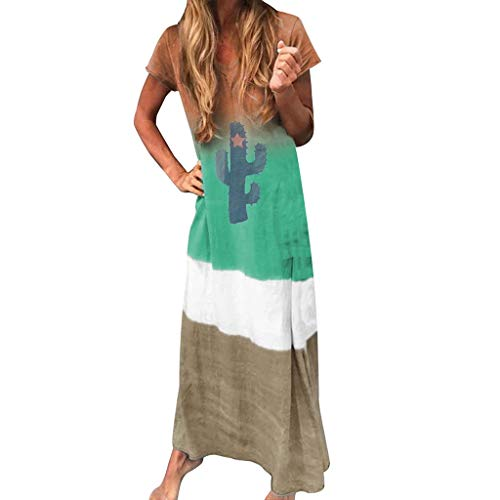 Women Gradient Color Tie Dyeing V-Neck Summer Short Sleeve Maxi Long Dress Green