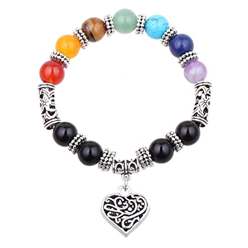 MIKINI Set of 2 Bracelets - 7 Chakra Stones Bracelet with Silver Heart Charm for Women, 10mm (Pack of 2)