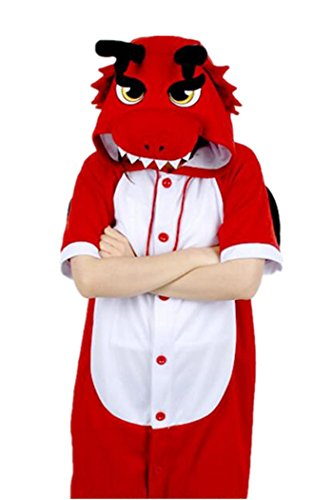 WOTOGOLD Animal Cosplay Costume Summer Adult Red Dragon Pajamas Short Sleeve, Summer Red Dragon, (Summer Costume)