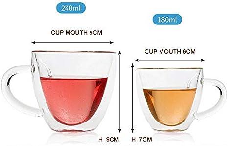 Petty Well Tasse /à caf/é ou /à th/é en forme de c/œur /à double paroi en verre transparent avec anse