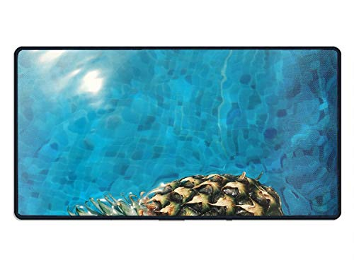 Price comparison product image Pineapple in Pool Extended Gaming Mouse Pad, Large Size Computer Keyboard Desk Mouse Mat Mousepad, Water Resistant Long Non-Slip Rubber Mice Pads with Stitched Edges