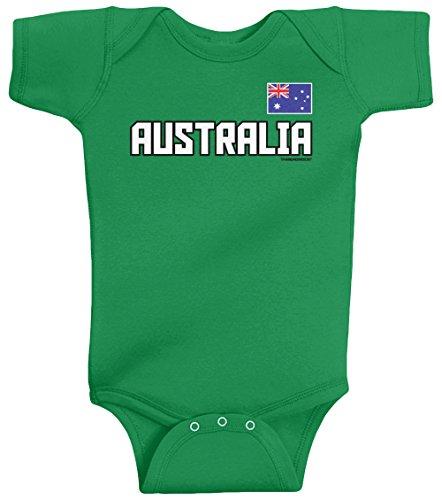 Threadrock Unisex Baby Australia National Pride Bodysuit 6M Kelly - Australia Suits Sports