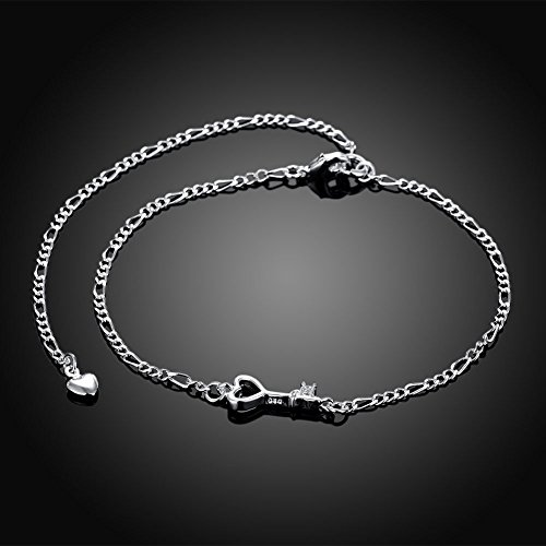 (KUYIUIF 925 Sterling Silver Adjustable Anklet Barefoot Sandal Beach Foot Chain Cute Love Key Zircon Pendant Adjustable Chain Anklet)