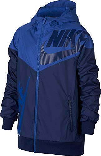 Nike Boy's Sportswear Graphic Windrunner Jacket (Blue, Small) by Nike