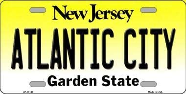 With Sticky Notes Atlantic City New Jersey Background Metal Novelty License Plate