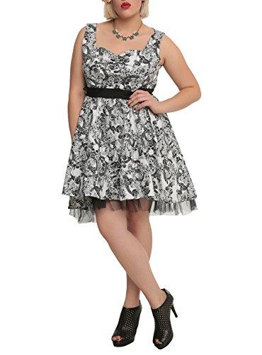 Gothic-Elegance-Rockabilly-Skull-Black-Rose-Belted-Tulle-Mini-Swing-Party-Dress