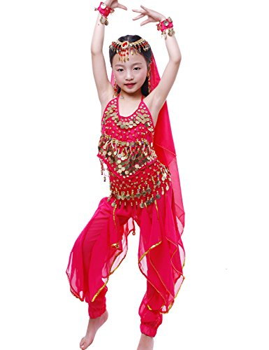 Astage Girls Oriental Belly Dance Sets Costumes All accessories Hotpink S(Fits 3-5 Years) -