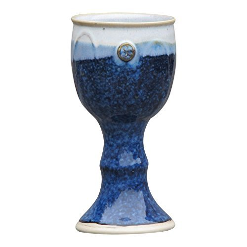 Ceramic Celtic Cross - Handmade Wine Goblet Hand-Thrown Hand-Glazed in Ireland Measures 7 inches Tall with Unique Celtic Stamp and Color Blue