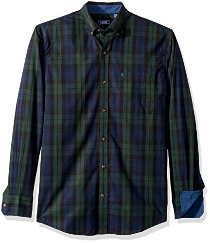 IZOD Men's Heritage Long Sleeve Button Down Tartan Shirt, Black Plaid, Large