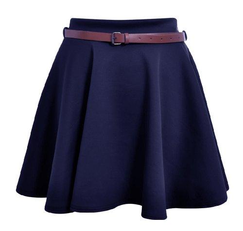 Funky Boutique Damen Minirock mit Gürtel 8-14 Marineblau