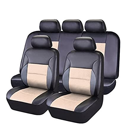 CAR PASS 11 Pieces Leather Universal Car Seat Covers Set - Black and Black LJ CP-SC-0079