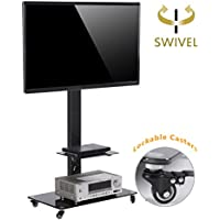TAVR Moblile Floor TV Stand Cart with Audio Shelf and Heavy Duty Lockable Caster Wheels, for 37 to 70 inch LCD LED Oled Qled Flat Panel and Curved TVs,TF5001