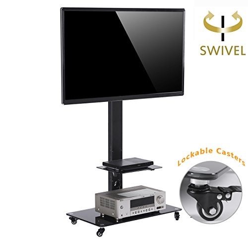 TAVR Moblile Floor TV Stand Cart with Audio Shelf and Heavy Duty Lockable Caster Wheels, for 37 to 70 inch LCD LED Oled Qled Flat Panel and Curved (Glass Set Entertainment Center)