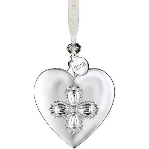 Waterford 2018 Silver Heart Christmas Ornament