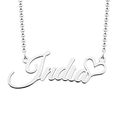 (SexyMandala 925 Sterling Silver Personalized Name Necklace Customized Heart Pendant Jewelry Same Day Shipping Gift for India)