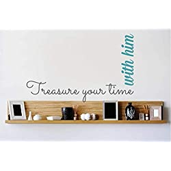 Lettering Words Wall Mural DIY Removable Sticker Decoration Treasure Your Time with Him for Bedroom