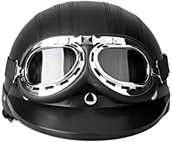 Anself Kkmoon Motor Fiets Open Face Helmet Half Lederen Met Vizier UV Beschermbril Vintage Style 54-60/cm