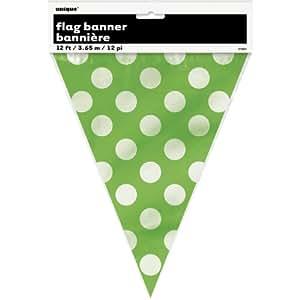 12ft Lime Green Polka Dot Pennant Banner