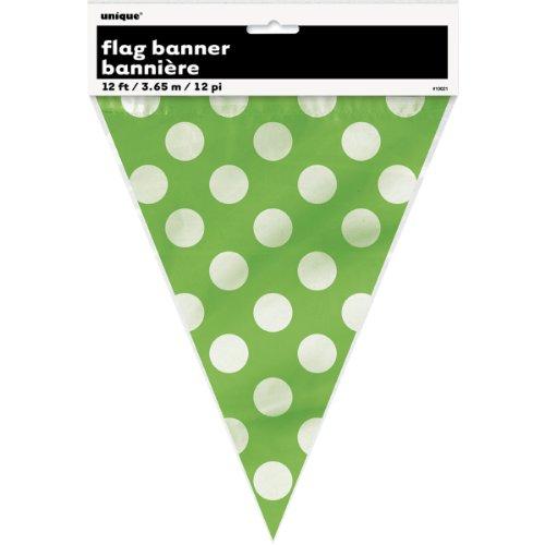 12ft Lime Green Polka Dot Pennant Banner]()