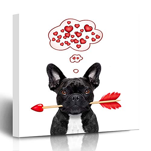 Ahawoso Canvas Print Wall Art 12x12 Inch Valentines French Bulldog Dog in Love Cute Holding Cupids Arrow Mouth Thinking Design Modern Artwork Printing Home Decor Wrapp Gallery Painting