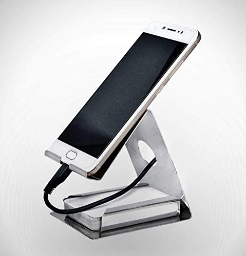 Kuber Industries Stainless Steel Mobile Stand with Card Holder (Silver)-KUBMART1675