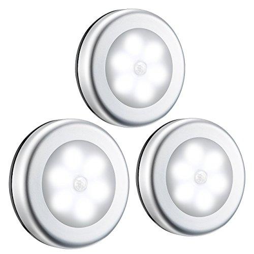 DDG EDMMS Luces de sensor de movimiento, 6 ledes, 3 paquetes de luces LED nocturnas sin cable con batería recargable con…