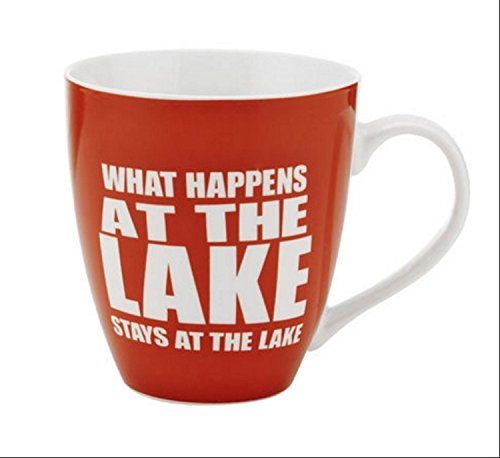 Pfaltzgraff Everyday What Happens At The Lake Stays At The Lake Large Red Coffee Mug - 18 (Lake Coffee Mug)