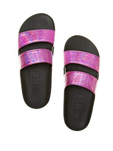 (Victorias Secret Pink Double Strap Slides Metallic Pink- Medium (7-8))