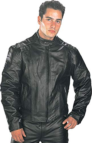 Xelement B7201 'Speedster' Men's Top Grade Leather Motorcycle Jacket with Zip-Out Lining - 2X-Large