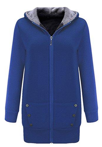 Grueso Calentar Full Fleece Forrado Hood Hoodie con Capucha Algodón Trenca Coat Capa Abrigo Jacket Cazadora Chaqueta Chamarra Sudadera Top Zipper Azul