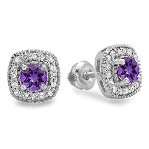 Dazzlingrock Collection Round Cut Amethyst White Diamond Ladies Halo Stud Earrings, Sterling Silver