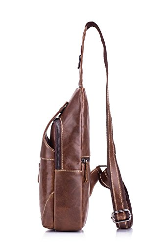 pecho Bag 019 genuino marrón mochila Cuero Bolso de Daypack Hombres Mochila Marrón marrón Crossbody Bolsos hombro Travel ELASZ 019 Brown negocio de de Casual Sport Bolso Messenger para el Hiking qxwtCAAZ