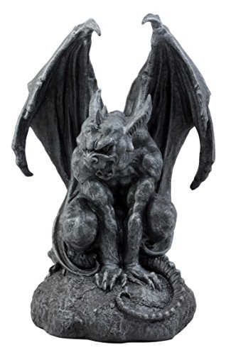 Fantasy Sculpture - Ebros Gift Large Cathedral Guardian Crouching Winged Gargoyle Statue 12.5