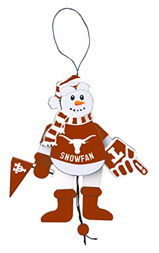 Texas Basketball Wood Longhorns - NCAA Texas Longhorns Wooden Cheering Snowman Ornament