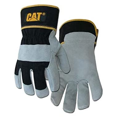 Caterpillar CATO13201L Premium Grey & Black Cowhide Split Leather Palm Glove, size Large.