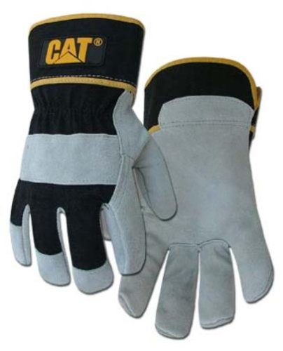 Caterpillar CAT013201L Premium Grey & Black Cowhide Split Leather Palm Glove, size