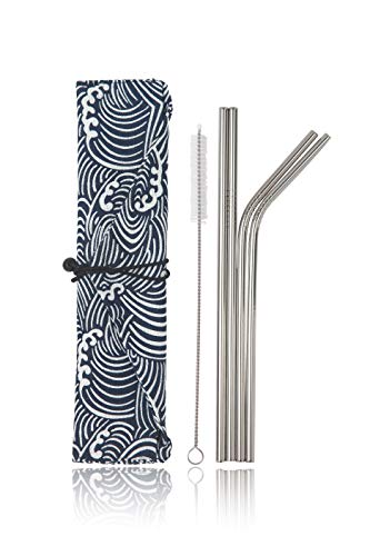 Stainless Steel Reusable Metal Straws -Portable Food Grade 4 Pack 8.5'' Cleaning Brush and Stylish Cloth Bag case Included. Fit 20 oz. tumblers. (Small Waves) by Simply Eco