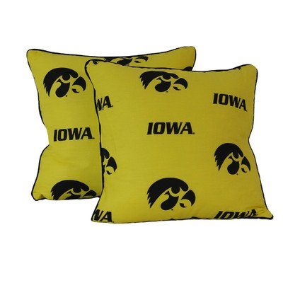 College Covers Iowa Hawkeyes Decorative Pillow, 16'' x 16'', Includes 2 Decorative Pillows