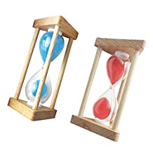 Fenteer 2Pcs Hourglass Sandglass Sand Timer Clock for Baby Kids Playing Games Home Decoration Cooking Exercising Timing 30 Seconds Blue+Red