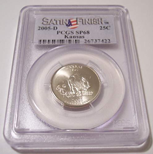 (2005 D Kansas State Satin Finish Quarter SP68 PCGS Flag Label)