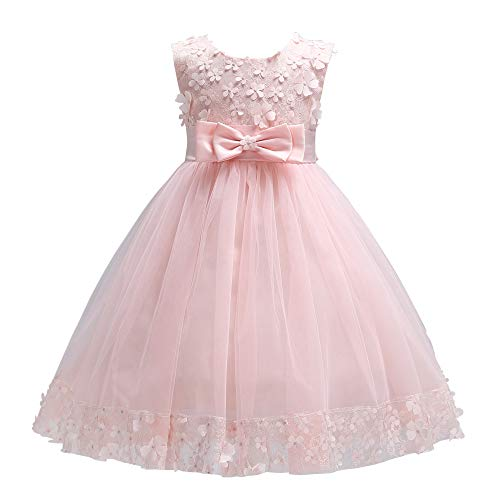 Weileenice 1-13T Girls Elegant Ball Gown Lace Dresses for Party A-line Girl Flower Dress Pink]()