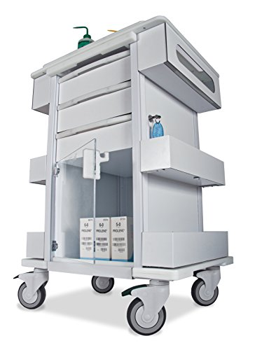 Locking Medical Cart - TrippNT 51463 Polyethylene/Aluminum Element 01 All Purpose Healthcare Cart, 24